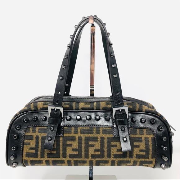 Fendi Zucca Studded Shoulder Bag